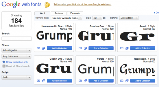 Googlen Web-fontit