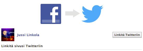 Linkitä Twitteriin -painikkeen kautta linkitys käynnistyy.