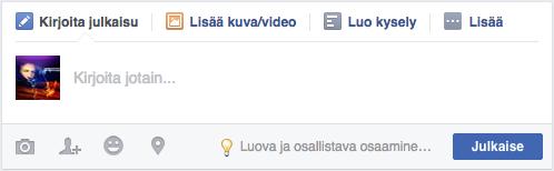 Päivitysikkuna Facebook-ryhmässä.
