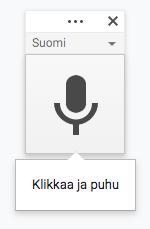Google-dokumentin klikkaa ja puhu -painike, jolla sanelu käynnistyy